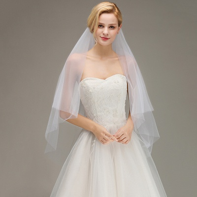 Cut Edge Two Layer Wedding Veil with Comb Simple Soft Tulle Bridal Veil_3