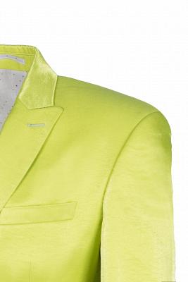 Sage Two Button Latest Design Peak Lapel Wedding Suit Back Vent_5