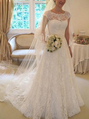 Court Train Applique Short Sleeves Square Lace Wedding Dresses with Ribbon_1