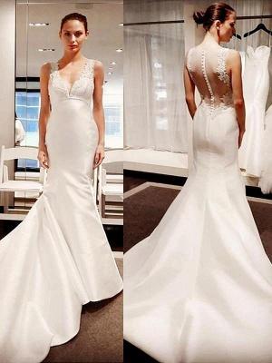 V-neck Court Train Satin Sleeveless Sexy Mermaid Applique Wedding Dresses_1