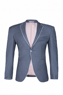Silver Single Breasted Peak Lapel Wedding Suit For Men Back Vent Fashion_1