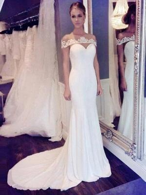 Glamorous Court Train Scoop Chiffon Sleeveless Sexy Mermaid Lace Wedding Dresses_1