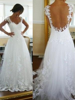 Sweep Train Sleeveless V-neck Lace Tulle Wedding Dresses_1