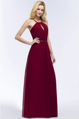 Simple A-Line  Spaghetti Straps Sleeveless Floor-Length Bridesmaid Dresses with Beading Sash_5
