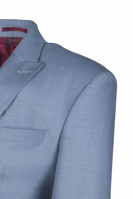 High Quality Sky Blue Two Button Single Breasted Slim Fit Wedding Suit_5