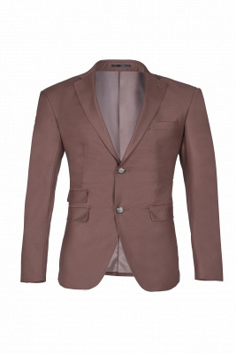 Chocolate Stylish Design Peak Lapel Two Button Single Breasted Wedding Suit_1