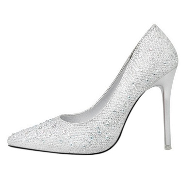Fashion Pionted Toe High Heel Wedding Shoes with Beadings_2