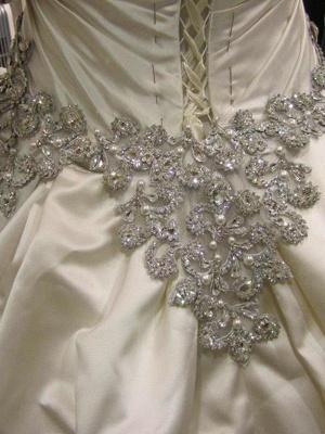 Romantic Taffeta Sleeveless Cathedral Train Ruffles Puffy Sweetheart Wedding Dresses_8