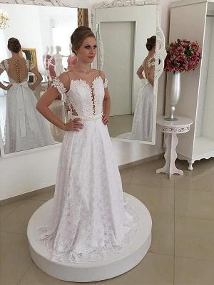 Sweep Train Scoop  Lace Short Sleeves Wedding Dresses_1