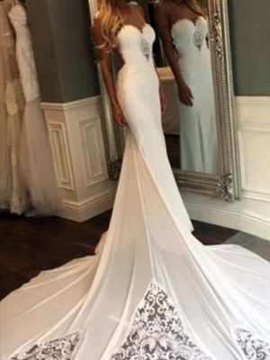 Cathedral Train Sexy Mermaid Lace Wedding Dresses | Sweetheart Applique Sleeveless Bridal Gowns_4