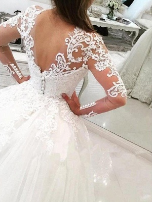 Dazzling Long Sleeves Cathedral Train V-neck Puffy Applique Lace Tulle Wedding Dresses_3