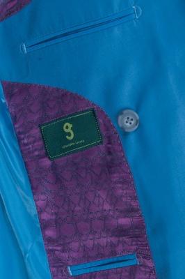 Ocean Blue Casual Suit Customize Groomsmen Peak Lapel Double Breasted_6