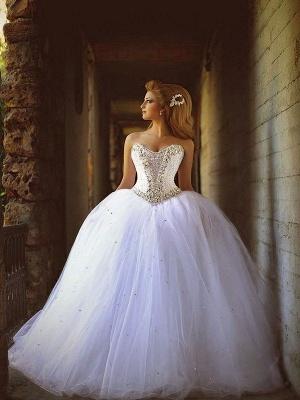 Court Train Beaded Tulle Puffy Sweetheart Stunning Wedding Dresses_4
