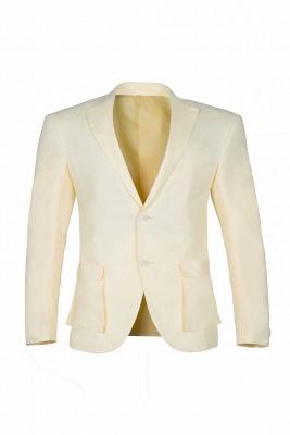 Back Vent Champagne Peak Lapel Two Button Fashion Wedding Suit_1