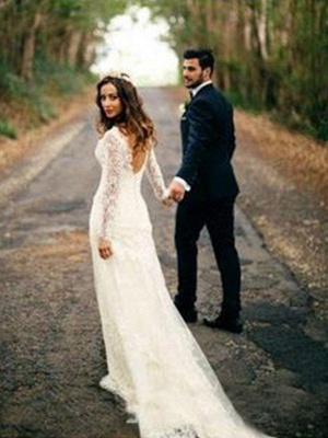 V-neck Column Court Train Long Sleeves Applique Lace Wedding Dresses_1