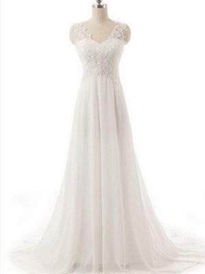 Sweep Train V-neck Sleeveless Chiffon Lace Wedding Dresses_1