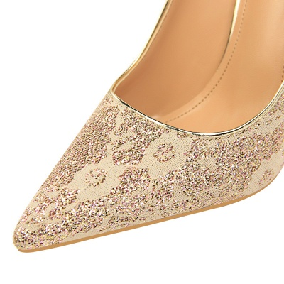 Fashion Pionted Toe High Heel Lace Wedding Shoes_9