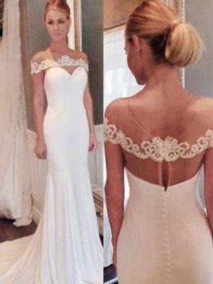 Glamorous Court Train Scoop Chiffon Sleeveless Sexy Mermaid Lace Wedding Dresses_3