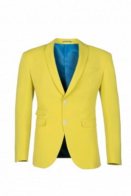 High Quality Fashion Two Button Daffodil Wedding Suit Back Vent_1