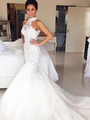 3/4 Sleeves  Court Train Tulle Halter Sleeveless Sexy Mermaid Wedding Dresses_1