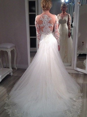 Sweep Train Tulle Sequin Wedding Dresses | Long Sleeves V-neck Bridal Gowns_3