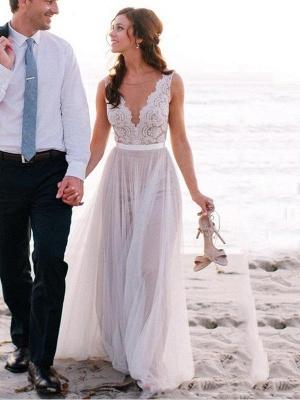 Glamorous Sleeveless Floor-Length Scoop Lace Tulle Wedding Dresses_1