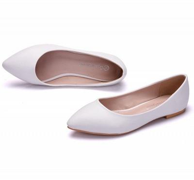 Woman Round Toe PU Flat Wedding Shoes_4