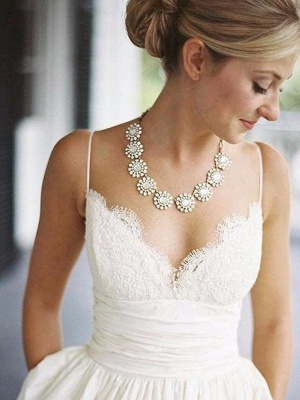 Glamorous V-neck Sleeveless Sweep Train Ruched Satin Wedding Dresses_1