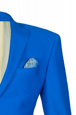 Ocean Blue Casual Suit Peak Lapel Single Breasted Bridegroom_4