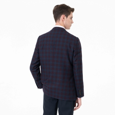 Lattice Peak Lapel Two Pieces with Pants Single Breasted Wedding Suits_2