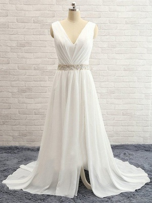 Sleeveless V-neck Sweep Train Chiffon Beaded Wedding Dresses_4
