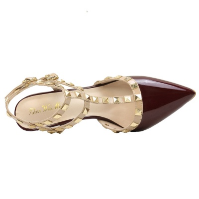 Fashion Pionted Toe High Heel Buckle Hollowout Wedding Shoes with Rivets_6