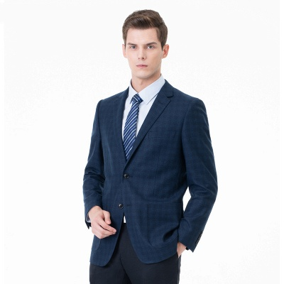 Lattice Two Button Peak Lapel Two Pieces with Pants Comfortable Groomsmen_4