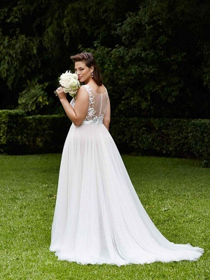 Tulle Scoop Sleeveless Court Train Lace Wedding Dresses_3