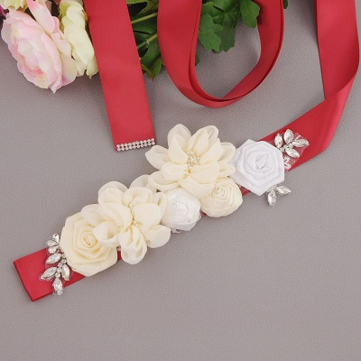 Fashion Chiffon Flowers Wedding Sash with Beadings_8