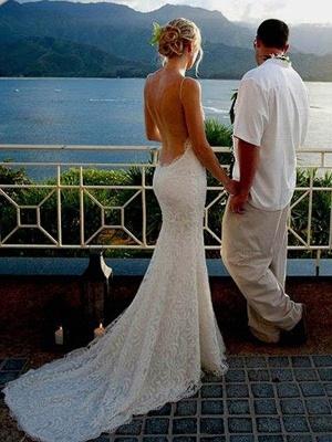 Spaghetti Straps Sweep Train Sleeveless Sexy Mermaid Ruffles Lace Wedding Dresses_4