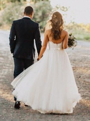 Glamorous Floor-Length Tulle Ruched Sweetheart Sleeveless Wedding Dresses_3