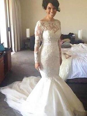 Gorgeous Court Train Long Sleeves Tulle Applique Bateau Wedding Dresses_1