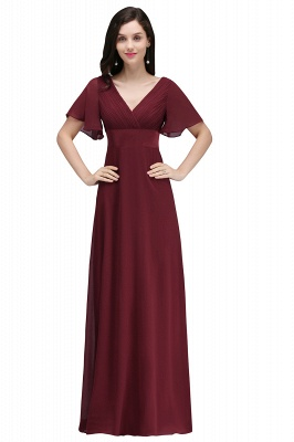 Simple A-Line  V-Neck Short-Sleeves Ruffles Floor-Length Bridesmaid Dresses_1