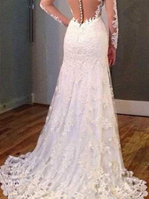 V-neck Sweep Train Applique Lace Sexy Mermaid Long Sleeves Wedding Dresses_3