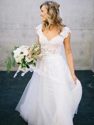 Sleeveless Floor-Length Lace Tulle V-neck Wedding Dresses_1