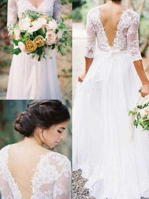 Lace Chiffon Applique Wedding Dresses | V-neck Floor-Length 1/2 Sleeves  Bridal Gowns_1