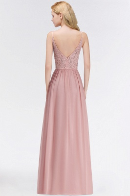 Halter Floor-Length Keyhole Lace Chiffon Long Bridesmaid Dress_5