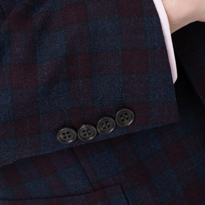 Lattice Peak Lapel Two Pieces with Pants Single Breasted Wedding Suits_5