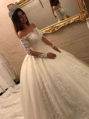 Cathedral Train Tulle Off-the-Shoulder Puffy Long Sleeves Applique Wedding Dresses_3