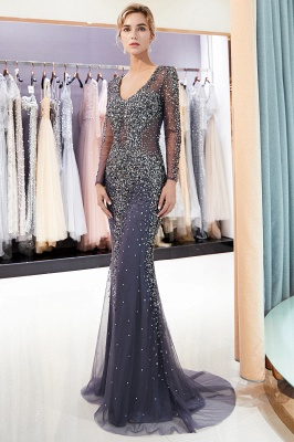 Mermaid V-neck Long Sleeves Sparkly Beading Prom Dress | 2019 Evening Dress_1