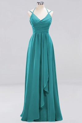 A-line  Spaghetti Straps Sleeveless Ruffles Floor-Length Bridesmaid Dresses_19