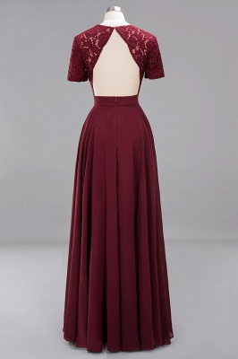 A-Line Chiffon Bridesmaid Dresses | Sweetheart Cap Sleeves Lace Wedding Party Dresses_34