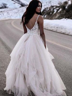 Glamorous Ruched Floor-Length Tulle Sleeveless V-neck Wedding Dresses_4