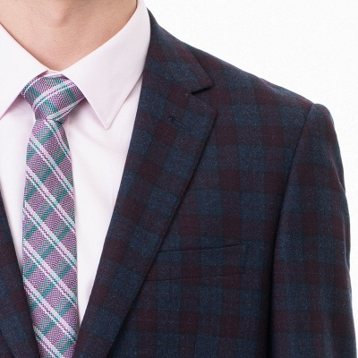 Lattice Peak Lapel Two Pieces with Pants Single Breasted Wedding Suits_4